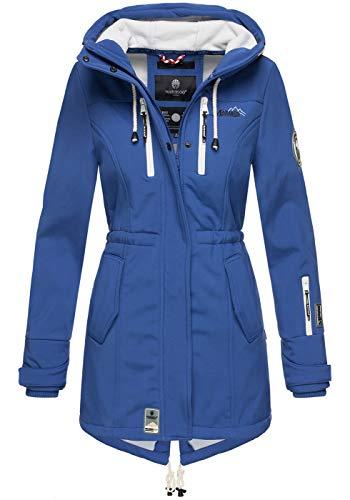 Marikoo Damen Winter Jacke Winterjacke Mantel Outdoor wasserabweisend Softshell B614 [B614-Zimt-Royalblau-Gr.XXL]
