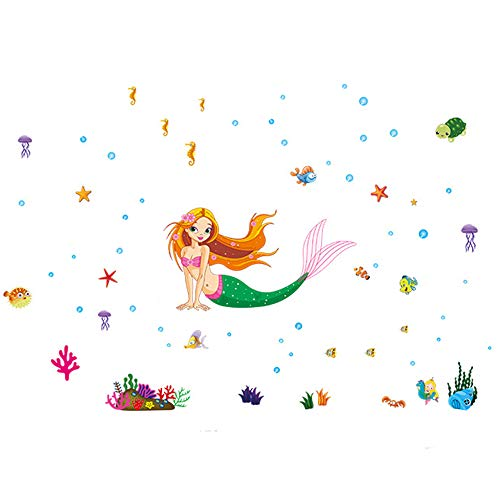 ufengke® Bunte Meerjungfrau Unterwasser Welt Wandsticker, Babyzimmer Kinderzimmer Entfernbare Wandtattoos Wandbilder