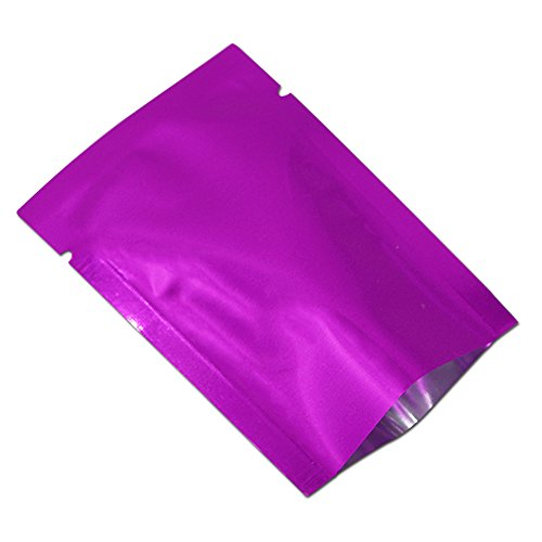 100 Pack Mylar Foil Heat Sealable Bag Aluminum Foil Pouch Bulk Food Storage Central Vacuum Bag (Purple, 2.4x3.5 inches (1.97x3.35 inches Inner Size))