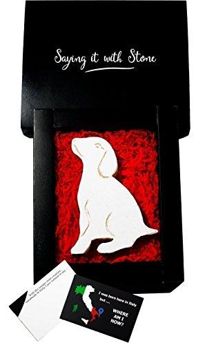 Chiot en pierre fait à la main en Italie - Symbole d'amour, de dévotion, d'amitié, de protection et de loyauté - Coffret cadeau et carte de message inclus - Saint Valentin amoureux des chiens