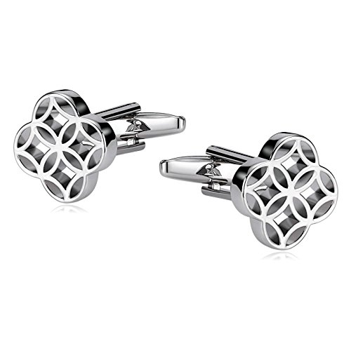 AYDOME Personalised Silver Cufflinks for Men, Stainless Steel Hollow Out Circle Business Cufflinks for Men