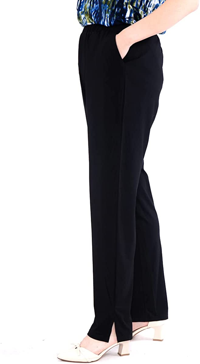 EboKepft Women's Plus Size Knit Straight Leg Pants Casual Stretch Relaxed High Rise Pants with Pockets and Elastic Waist