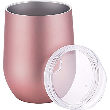 Skylety 12 oz Double-insulated Stemless Glass Wine Tumbler, Stainless Steel Tumbler Cup with Lids for Coffee, Drinks, Champagne, Cocktails (Rose Gold)
