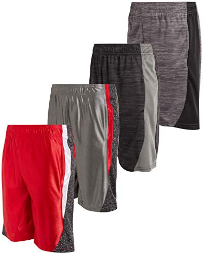 Mad Game Boys Athletic Performance Basketball Shorts (4 Pack), Grey/Red/Cationic/Black, Size 16/18'
