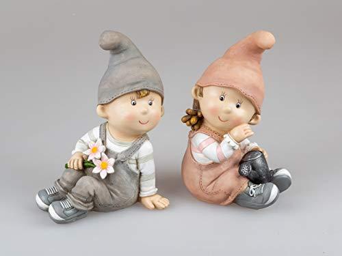 Sommerkinder Gartenfiguren sitzend 24 cm hoch im 2er Set Franz und Greta 802