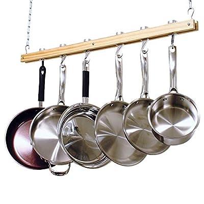 Cooks Standard, Single Bar, 36-Inch Ceiling Mounted Wooden Pot Rack, Brown by Neway International Housewares