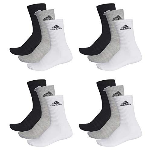 adidas 12 Paar Performance CUSHIONED CREW 3p Tennissocken Sportspocken Unisex, Farbe:032 - grey melange, Socken & Strümpfe:43-45