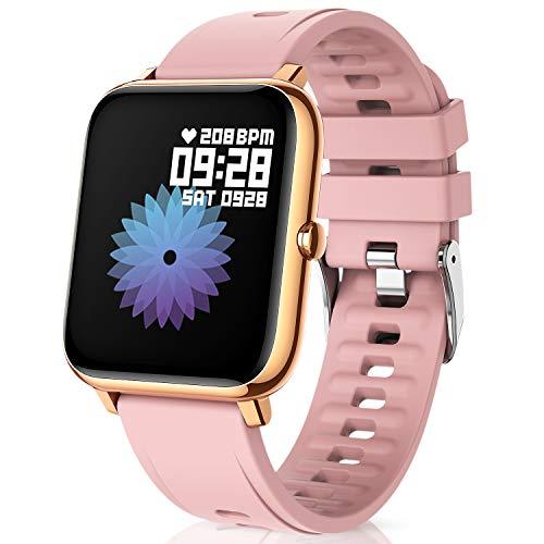 Canmixs Smartwatch Orologio Fitness Donna Uomo IP67 Impermeabile Bluetooth Smart Watch Cardiofrequenzimetro Da Polso Saturimetro Pressione Contapassi Calorie Sportivo Activity Tracker per Android ios