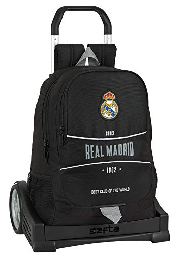 Safta Mochila Espalda Ergonómica con Carro Evolution de Real Madrid, Multicolor, 612024860
