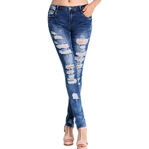 Luandge Pantalones Vaqueros Pitillo Ajustados elásticos para Mujer, Ropa de Calle, Pantalones Vaqueros Sexis de Cintura Baja Ajustados a la Moda Rasgados con Levantamiento de glúteos XL