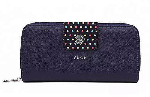 VUCH - Frauen Geldbeutel, dunkel blau mit Punkten   Portemonnaie aus Kunstleder, für 6 bis 12 Karten geeignet, groß   Geburtstagsgeschenk für Damen, Geldbörse