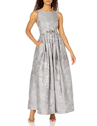 Eliza J Women's Ballgown with Beaded Belt, Silver, 4