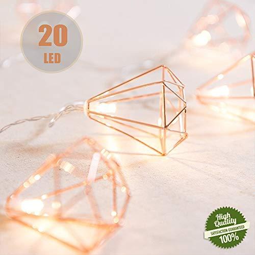 Cadena de Luces Boho Metal Geométrica, Morbuy Pilas Decorativas Guirnalda Luces 3m/ 20LED Oro Rosa Luz para Navidad Boda Fiestas Jardín Patio Halloween (Diamante)