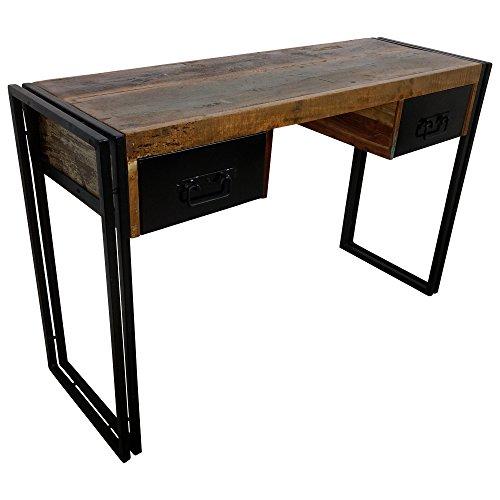 Indoortrend.com Schreibtisch Vintage 120 cm breit - Arbeitstisch - Bürotisch - Computertisch - Sekretär - Tisch aus Holz, Upcycling - Gestell: schwarz Metall - B/T/H: 120x40x76 cm