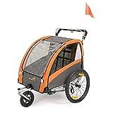 SEPNINE 2 In 1 FahrradanhäNger FüR Kinder Einsitzer Zweisitzer Kindertrolley Transporter, Klappbar Mit Handbremse (Orange)