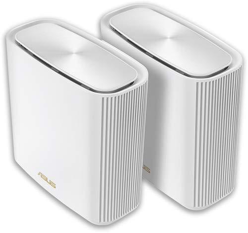 Asus Ai Mesh AX-WLAN System ZenWiFi XT8 Weiß (2in1 Mesh Zugangspunkte-Set, AX6600 WiFi6 Mesh-Backbone & Client-Verbindung, 3x Gigabit LAN, 2.5G WAN)