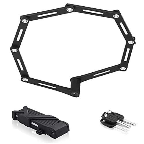 Yililay Folding Bike Lock Heavy Duty Bicycle High Security Chain Alloy Steel Anti Theft Cycling Locks Black