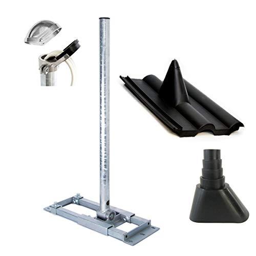 PremiumX Deluxe X130-48 SAT Dachsparrenhalter 130cm Mast 48mm Sparren-Halterung mit Kabeldurchführung für Satelliten-Antenne Satellitenschüssel inkl. Dachabdeckung Set