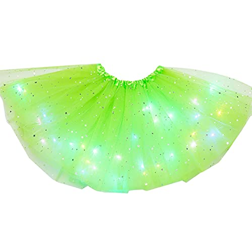 DASNTERED Tutú de tul de color sólido con estrellas brillantes, falda de tutú para niñas, con lentejuelas, esponjosa, magia, ligera, princesa, ballet para niños (verde claro)