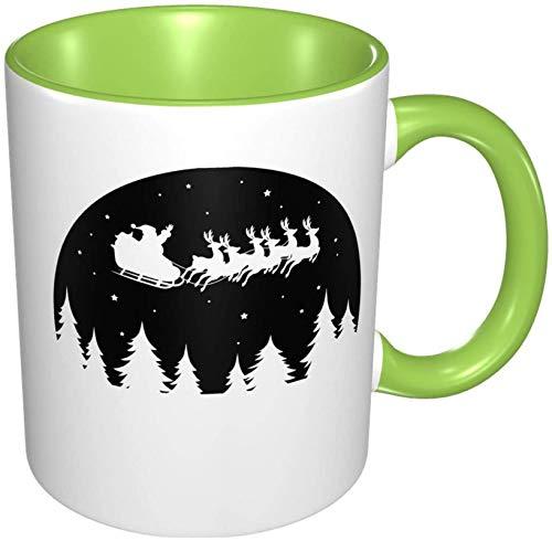 Taza de café de porcelana voladora de Papá Noel, tazas coloridas con mango de cerámica para capuchino, té, cacao y cereales, verde
