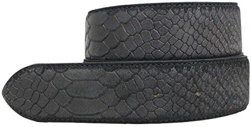 Brazil Lederwaren Wechselgürtel mit Pythonprägung ohne Schnalle 4 cm | Druckknopf-Gürtel für Damen Herren 40mm Schlangen-Optik | Schwarz 95cm