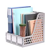 Leven Sturdy Magazine File Holder Desk Organizer File Folder for Office Organization and Storage with 3 Vertical Compartments (Gray)