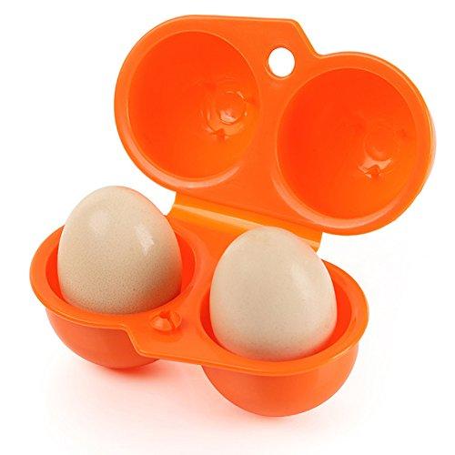 エッグホルダー アウトドア・お弁当 卵ケース 携帯用 卵トレイボックス 耐衝撃性 折り畳み式 収納ケース(オレンジ)