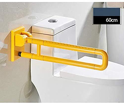 WERFFT Armsteun Barrière-vrij roestvrij staal opvouwen Badkamer Veiligheid slip leuning Oudere/gehandicapte wastafel (Kleur : GEEL, Wit Afmeting: 600 * 100 * 600MM)
