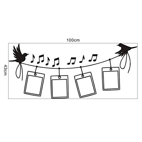 Vogels Muziek fotolijst Muursticker Familie Decoratie Dierlijke Muursticker Muursticker Muurschildering Woonkamer Cartoon Sticker muurschildering