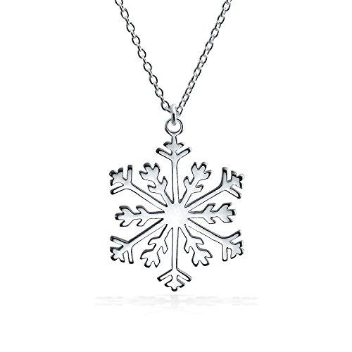 Vacaciones De Invierno Colgante Collar De Copo De Nieve Para Mujer Adolescente Pulido Con Cadena De Plata Esterlina 925