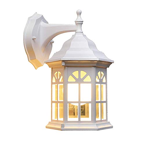 Outdoor wandlamp, buitenwandlamp, wit, antiek, lantaarn, design, buiten, binnen, wandlamp, gegoten aluminium, glas, waterdicht, IP23, buitenlamp, E27, balkon, huis, ingang, terras, tuin, 17 x 20 x 30 cm