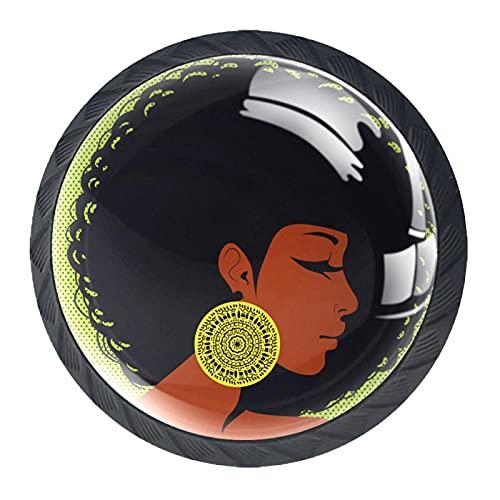 Paquete de 4 pomos de repuesto para armario, puerta y cajón, para cocina, aparador, armario, baño, armario, mujer africana que lleva pendientes