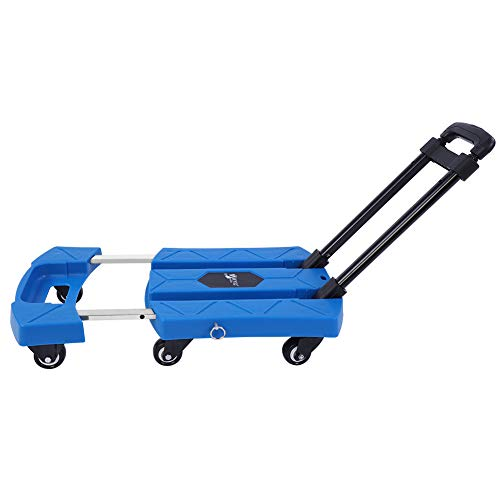 Carretilla Plegable de Mano, Carro Telescópico Portátil de 6 ruedas Capacidad de Carga Máxima 200 Kg/440 lbs, para Trabajos Pesados Almacén, Taller, Fábrica, Carro de la Compra Casera, Azul