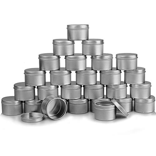 DINGPAI 27pcs Candle Tins, 2oz Metal Tins, Round Empyt Candle Containers for Candle Making, Party Favors, Spices & Gifts