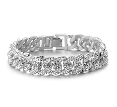 Halukakah Diamante Cadena Cubano de Oro para Hombre,13MM Acabado en Oro Blanco Platino Pulsera 22cm,Cz Completa Juego de Puntas de Corte de Diamante,con Caja