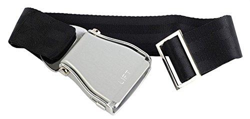 Skybelt Airline - Cinturón para avión (tamaño XXL), color plateado y negro