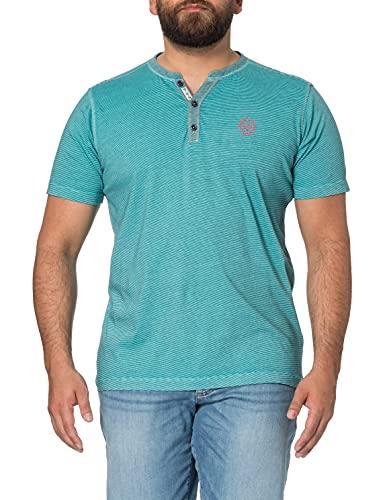 LERROS Herren Fineliner Serafinoshirt Henley-Hemd, Mint Blue, XXL