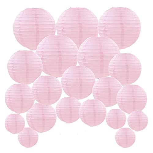 CAIFEIYU 20 PCS 6'-12' Linternas de Papel Rosa Lámpara Redonda China para lámpara de Boda Lámpara para Exteriores para Exteriores decoración