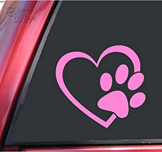 Heart and Paw Print Vinyl Decal Sticker (4