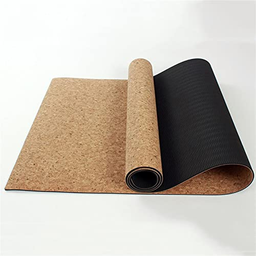 TYUTYU Diseño de Pilates Eco Eco Yoga Mat Eco TPE Ejercicio de Corcho (Color : Black Cork)