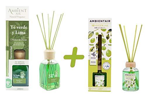 Ambientair. Difusor de varillas perfumadas Té Verde y Lima 240ml + 50ml. Difusor sin alcohol con palitos de ratán. El mejor ambientador para la casa. Difusor para cocina y baño.