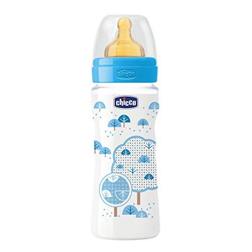 Chicco Wellbeing - Biberón con tetina de látex y flujo rápido para bebé de 4m+, 330 ml, color azul