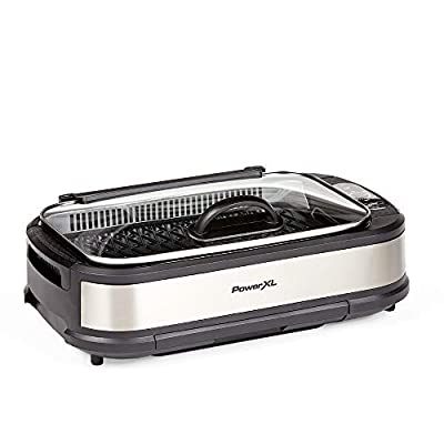 PowerXL Smokeless Grill with Tempered Glass Lid and Turbo Speed Smoke Extractor Technology. Make Tender Char-grilled Meals Inside With Virtually No Smok (Stainless Steel Pro with Hinged Lid)