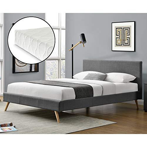 Corium Polsterbett aus Leinen 180x200 cm mit Kaltschaummatratze Doppelbett Jugendbett Bettgestell mit Kopf-und Fußteil mit Lattenrost Dunkelgrau