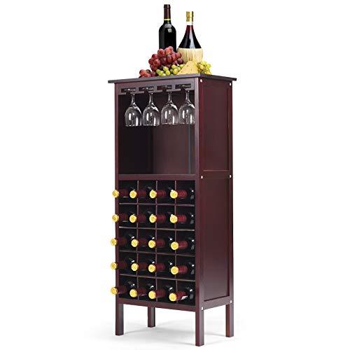 RELAX4LIFE Weinregal Kiefernholz, Weinschrank mit Weinglashalter, Weinhalter für 20 Flaschen, Weinständer für Küche, Flaschenregal für Wein & Getränke, große Aufbewahrung 42 x 24,5 x 96 cm (Braun)