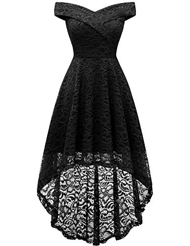 HomRain Damen Schulterfrei Brautjungfernkleider Kleid Cocktail Party Floral Kleid Cocktailkleid Halloween Kleid Black L