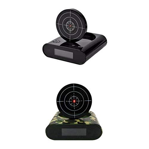 PETSOLA 2 Stück LED Digitaler Wecker mit Zielscheibe und Infrarot Pistole, schwarz und grün