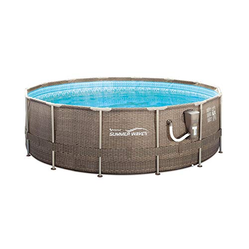 Summer Waves 14ft x 48in Above Ground Frame Outdoor Swimming Pool with Ladder and Pump