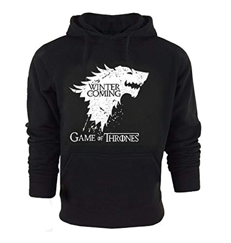 Le Sweat Homme Arrive en Noir avec des Poches Capuche - Taille m Game of Thrones Winter is Coming House Stark