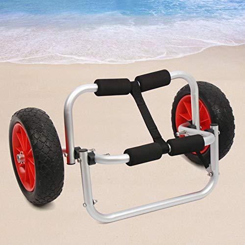 Carro de kayak con ruedas para 150 lbs, con ruedas, para transporte de kayak, remolque de aluminio, para canoa, tabla de surf o barco plegable